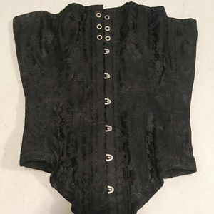 Black Chinese Dragon Brocade Over-Bust Corset